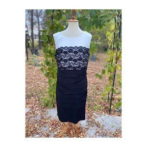 Laura Plus Classic Sheath Dress Black White Lace